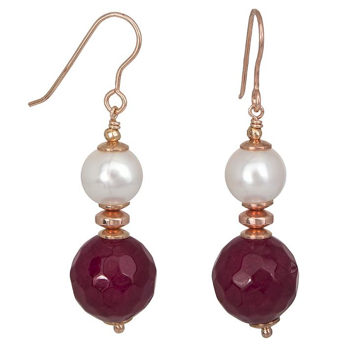 Ροζ επίχρυσα σκουλαρίκια 925 μαργαριτάρι & αχάτη 027227 027227 Ασήμι