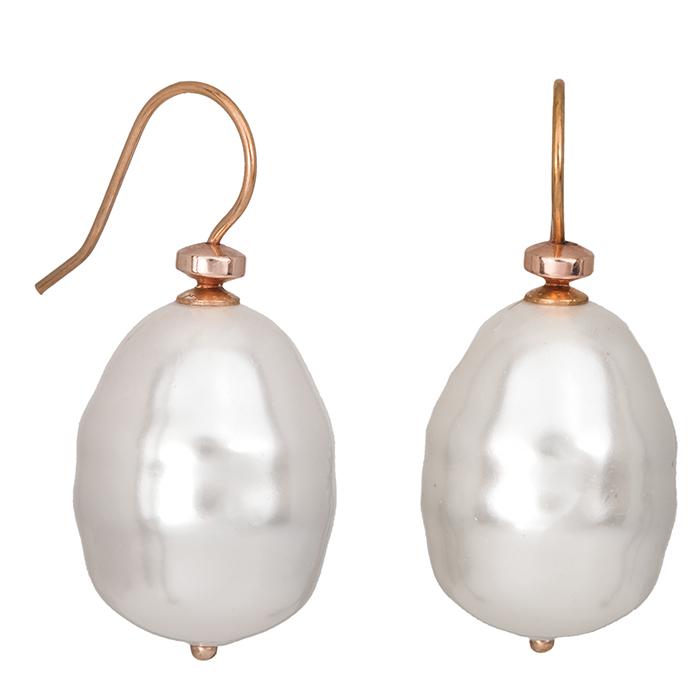 Ροζ επίχρυσα σκουλαρίκια 925 με μαργαριτάρια 027232 027232 Ασήμι