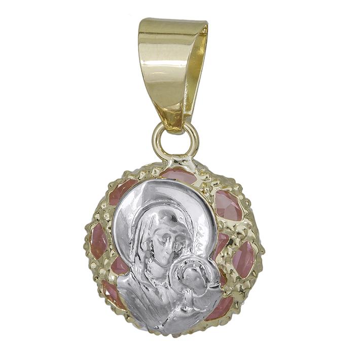 Χρυσό φυλαχτό 9K με ροζ συνθετική πέτρα 027235 027235 Χρυσός 9 Καράτια