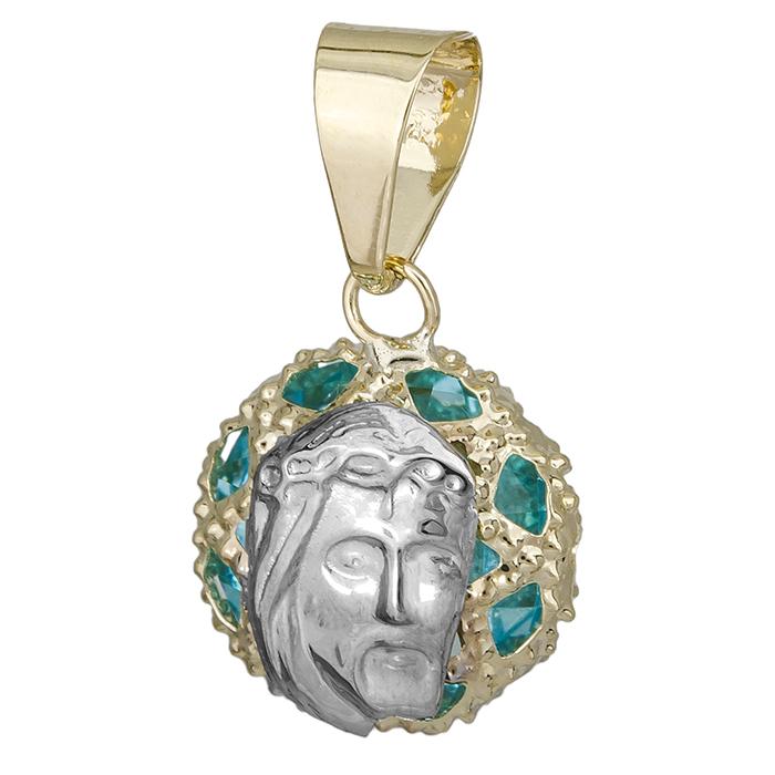 Χρυσό φυλαχτό 9K με μπλε συνθετική πέτρα 027237 027237 Χρυσός 9 Καράτια