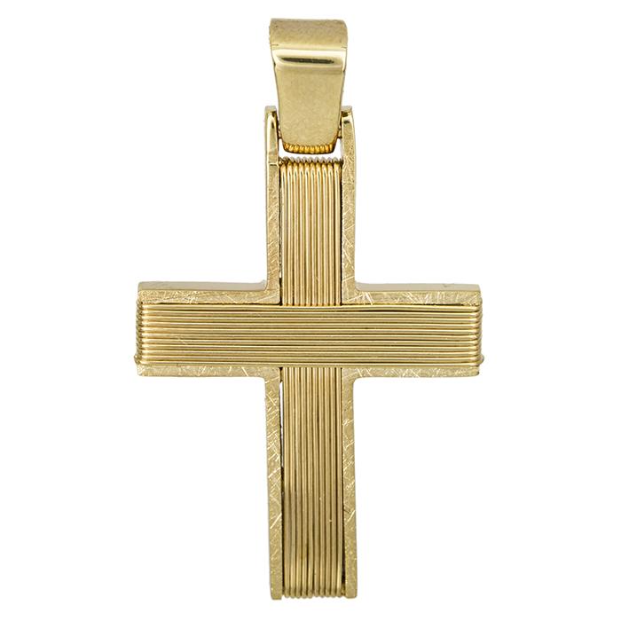 Σταυροί Βάπτισης - Αρραβώνα Χρυσός σταυρός Κ14 με σύρμα 027263 027263 Ανδρικό Χρυσός 14 Καράτια