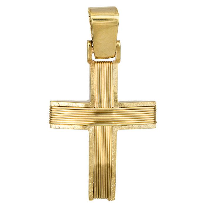 Σταυροί Βάπτισης - Αρραβώνα Αντρικός σταυρός Κ14 συρματερός χρυσός 027264 027264 Ανδρικό Χρυσός 14 Καράτια