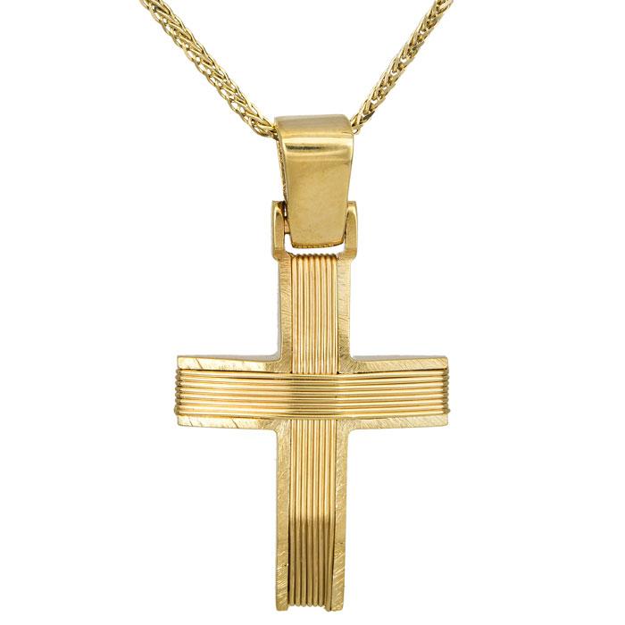 Βαπτιστικοί Σταυροί με Αλυσίδα Χρυσός σταυρός Κ14 με αλυσίδα συρματερός 027264C 027264C Ανδρικό Χρυσός 14 Καράτια