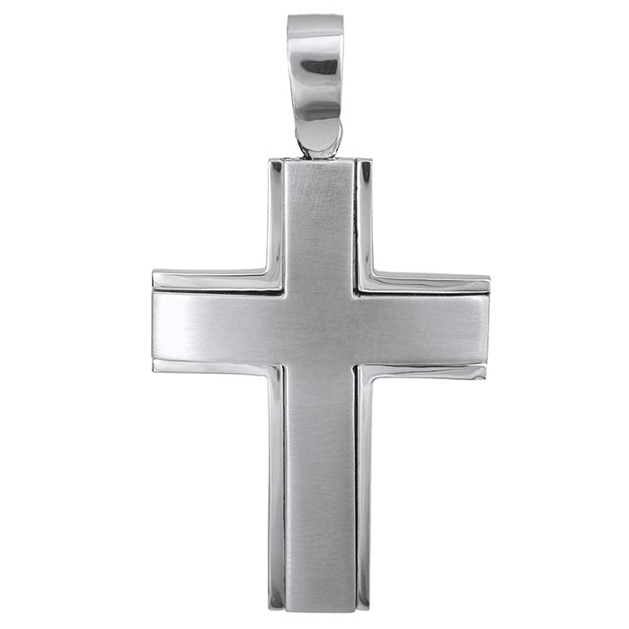 Σταυροί Βάπτισης - Αρραβώνα Βαπτιστικός σταυρός λευκόχρυσος Κ9 027267 027267 Ανδρικό Χρυσός 9 Καράτια