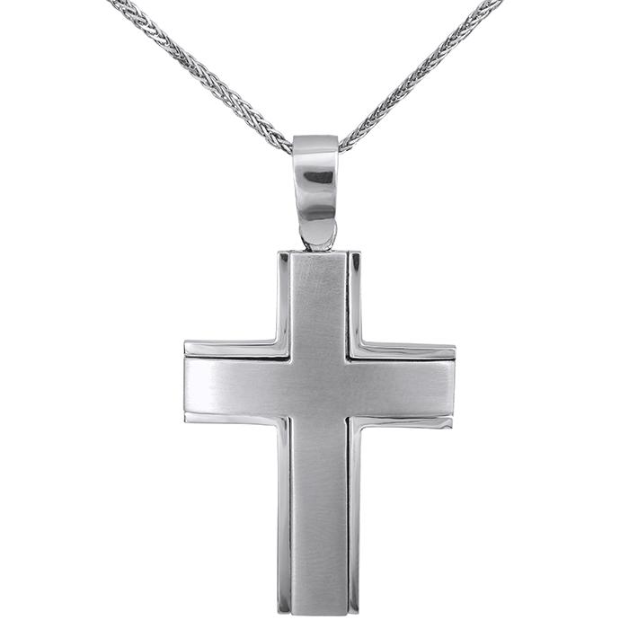 Βαπτιστικοί Σταυροί με Αλυσίδα Λευκόχρυσος σταυρός Κ9 με αλυσίδα 027267C 027267C Ανδρικό Χρυσός 9 Καράτια