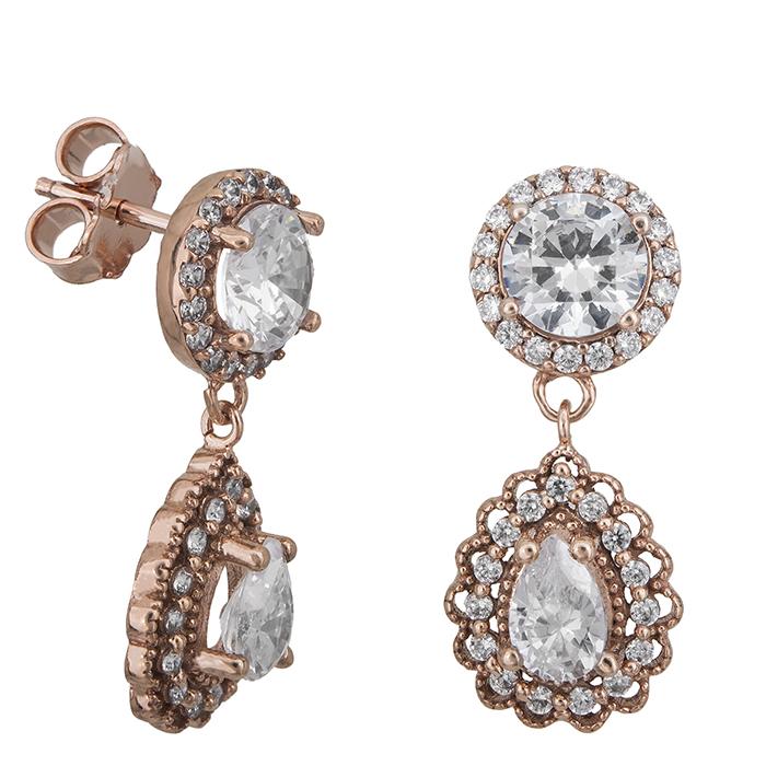 Γυναικεία σκουλαρίκια ροζ gold Κ14 ροζέτες 027329 027329 Χρυσός 14 Καράτια