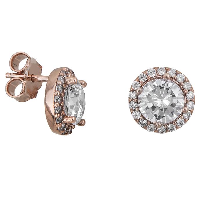 Γυναικεία σκουλαρίκια ροζ gold Κ14 ροζέτα 027330 027330 Χρυσός 14 Καράτια