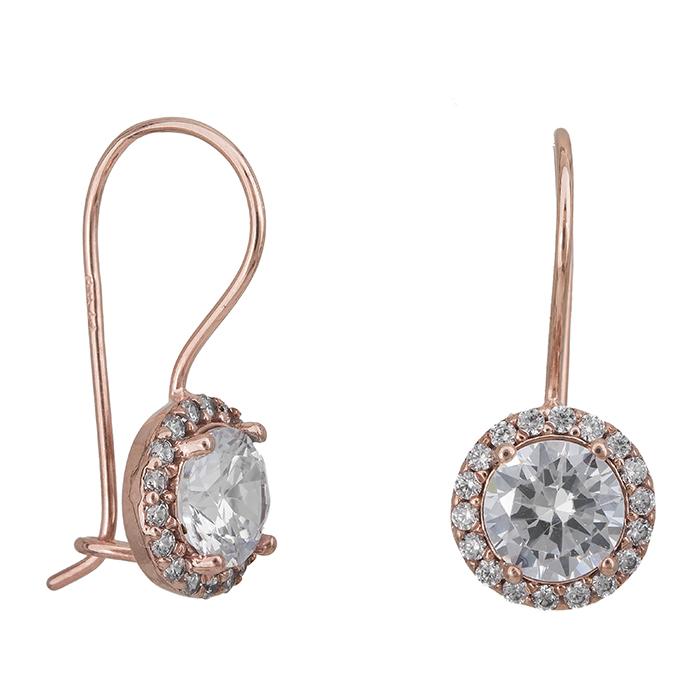Γυναικεία σκουλαρίκια Κ14 κρεμαστά Ροζ gold 027331 027331 Χρυσός 14 Καράτια
