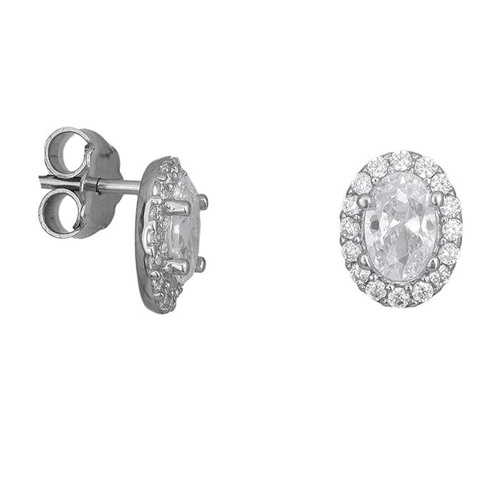 Γυναικεία σκουλαρίκια Κ14 λευκόχρυσα με ζιργκόν 027333 027333 Χρυσός 14 Καράτια