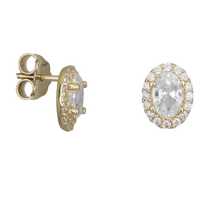 Χρυσά γυναικεία σκουλαρίκια Κ14 με λευκές ζιργκόν 027334 027334 Χρυσός 14 Καράτια