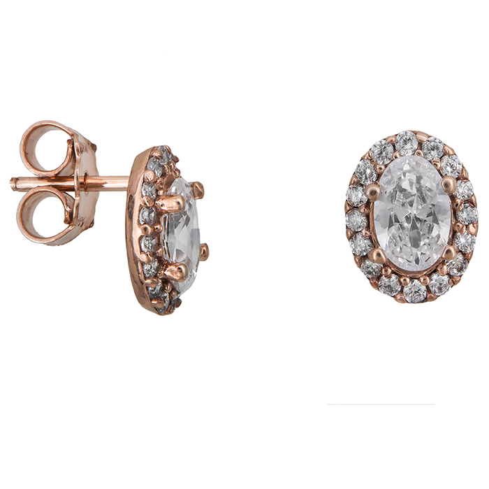 Γυναικεία σκουλαρίκια ροζ gold Κ14 οβάλ 027335 027335 Χρυσός 14 Καράτια