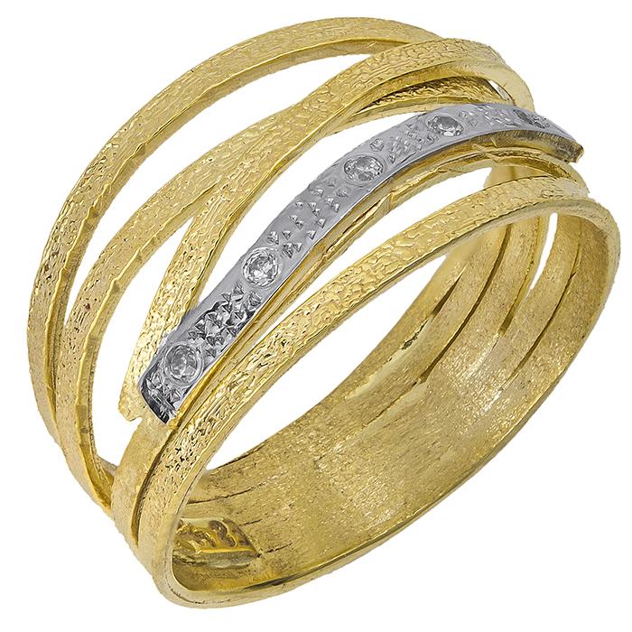 Δαχτυλίδι Κ14 με σχέδιο & ζιργκόν 027366 027366 Χρυσός 14 Καράτια