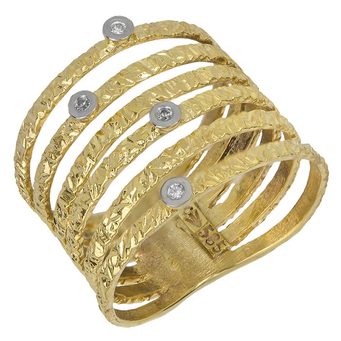Γυναικείο δαχτυλίδι Κ14 με σχέδιο & ζιργκόν 027367 027367 Χρυσός 14 Καράτια