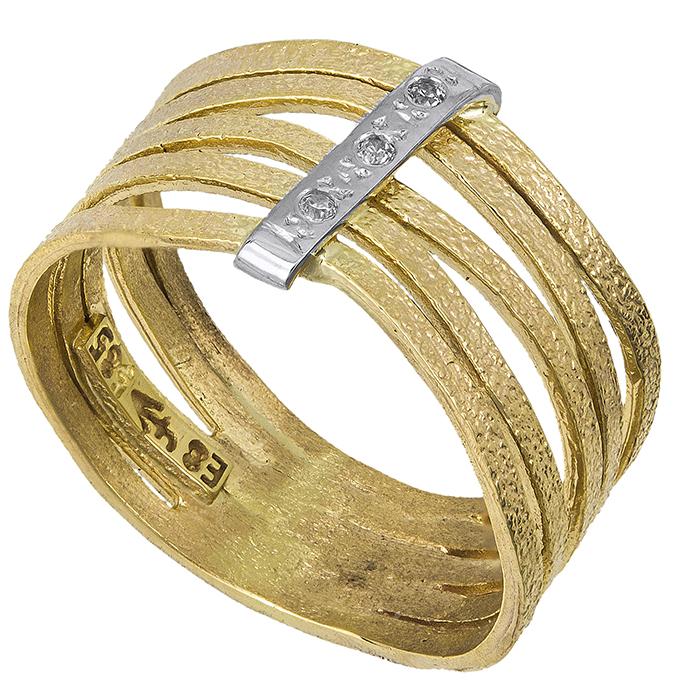 Μοντέρνο δαχτυλίδι Κ14 με σχέδιο & ζιργκόν 027368 027368 Χρυσός 14 Καράτια