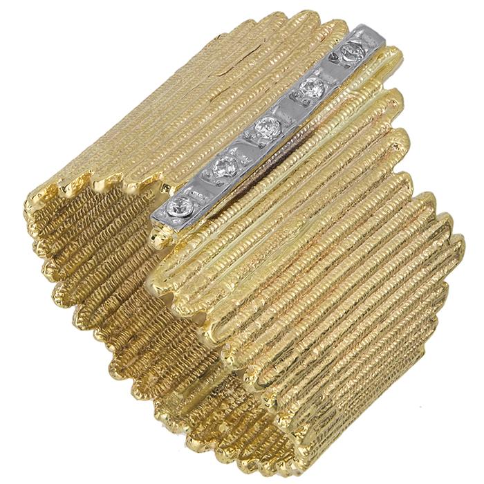 Μοντέρνο δαχτυλίδι Κ14 με λευκές ζιργκόν 027369 027369 Χρυσός 14 Καράτια