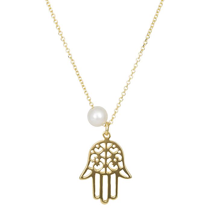 Χρυσό κολιέ Κ14 χέρι της Φατιμά με μαργαριτάρι 027372 027372 Χρυσός 14 Καράτια