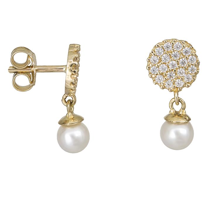 Χρυσά σκουλαρίκια Κ14 μαργαριτάρια 027406 027406 Χρυσός 14 Καράτια