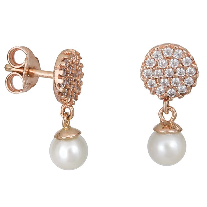 Ροζ gold σκουλαρίκια Κ14 με μαργαριτάρια 027407 027407 Χρυσός 14 Καράτια