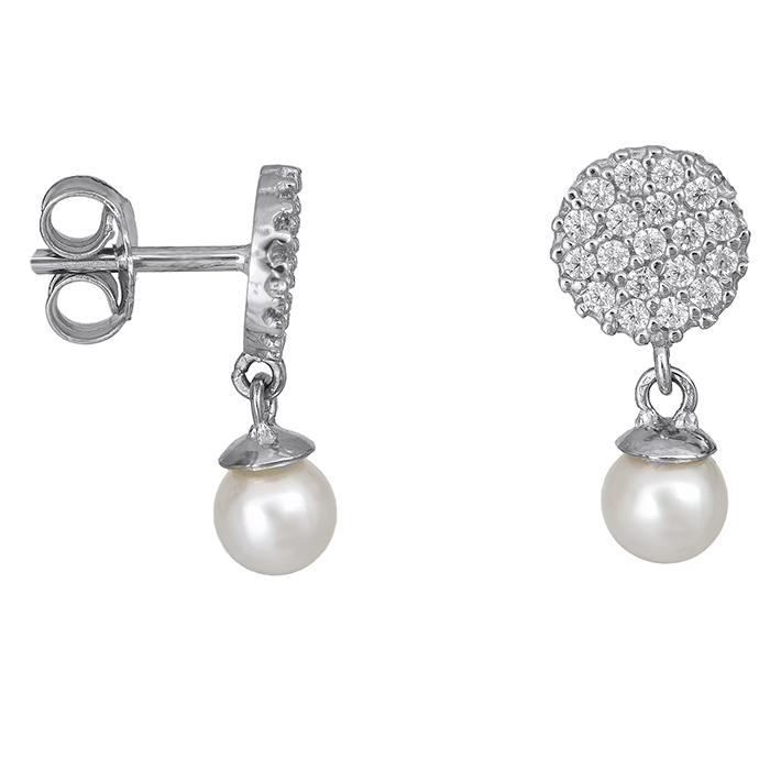 Λευκόχρυσα σκουλαρίκια Κ14 με μαργαριτάρια 027408 027408 Χρυσός 14 Καράτια