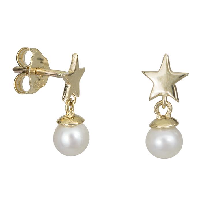 Σκουλαρίκια Κ14 με αστεράκια & μαργαριτάρια 027410 027410 Χρυσός 14 Καράτια