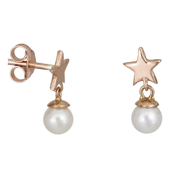 Ροζ gold σκουλαρίκια Κ14 αστεράκια & μαργαριτάρια 027412 027412 Χρυσός 14 Καράτια