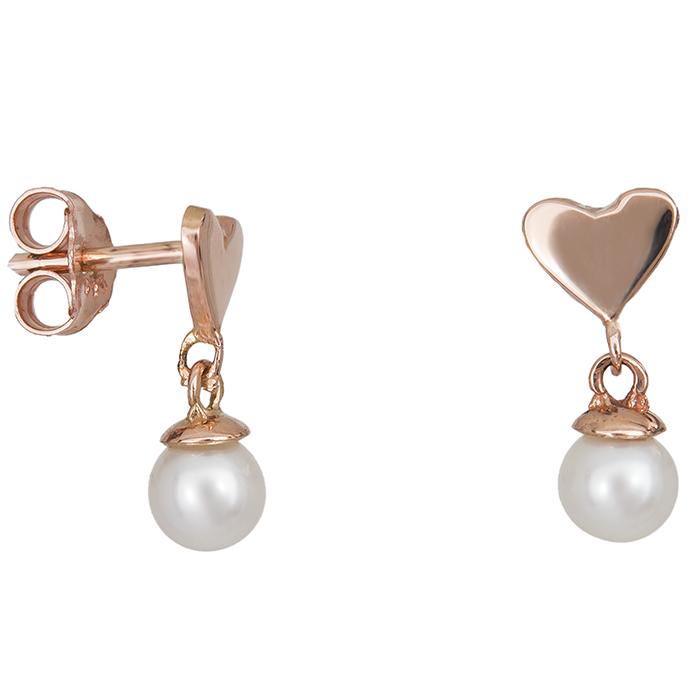 Σκουλαρίκια ροζ gold Κ14 με καρδούλα 027413 027413 Χρυσός 14 Καράτια