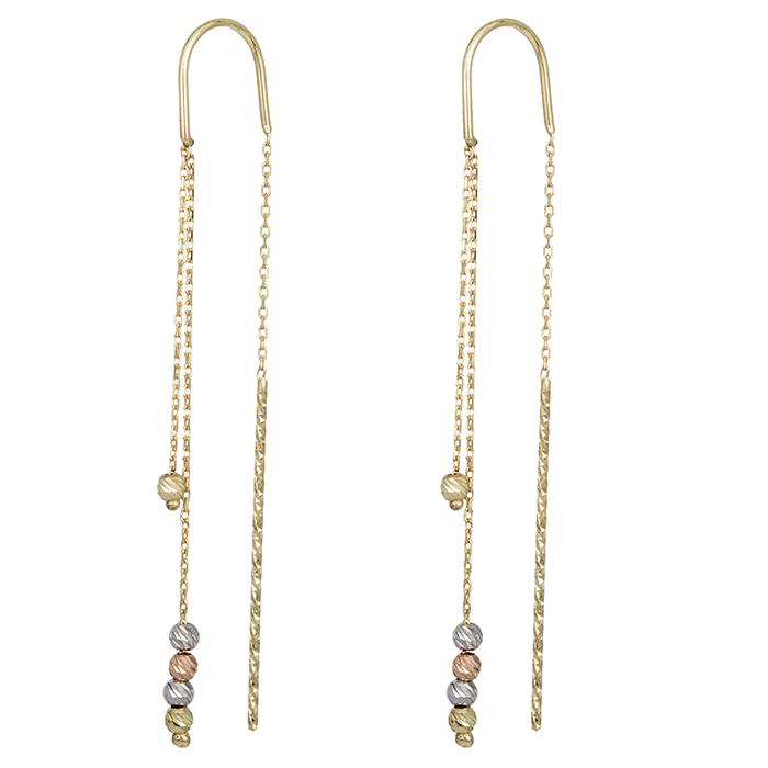 Χρυσά σκουλαρίκια Κ14 με ανάγλυφες χάντρες 027421 027421 Χρυσός 14 Καράτια
