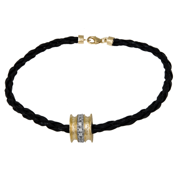 Βραχιόλι γυναικείο δερμάτινο με χρυσό μοτίφ Κ9 027427 027427 Χρυσός 9 Καράτια