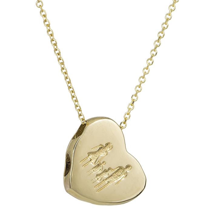 Χρυσό κολιέ Κ9 με καρδιά family διπλής όψεως 027436 027436 Χρυσός 9 Καράτια