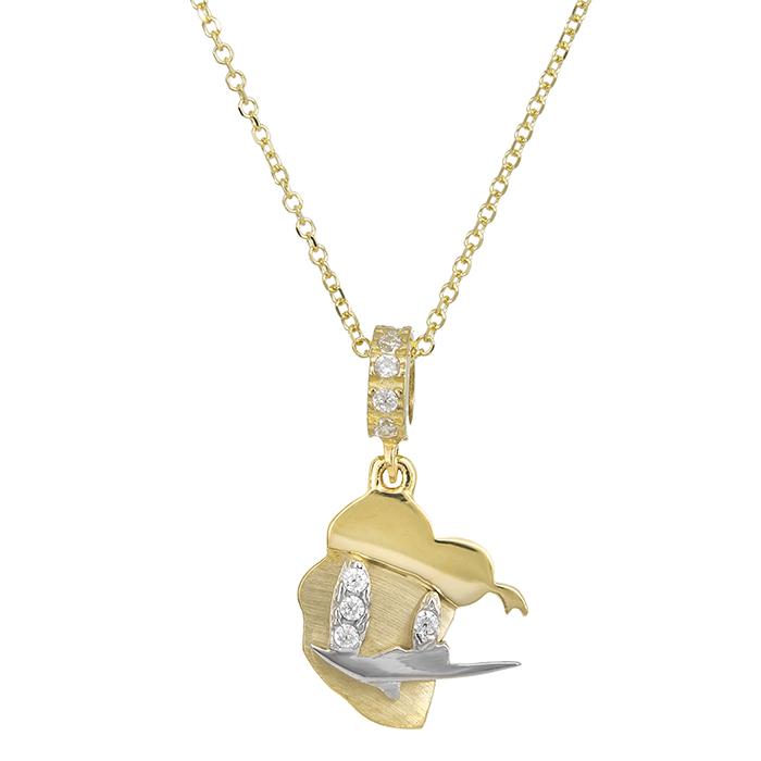 Χρυσό κολιέ Κ9 με πετράτο duck 027439 027439 Χρυσός 9 Καράτια