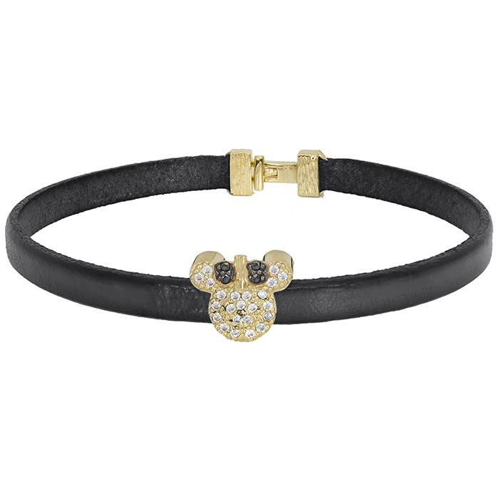 Μαύρο λουράκι με χρυσό mouse Κ9 & ζιργκόν 027467 027467 Χρυσός 9 Καράτια