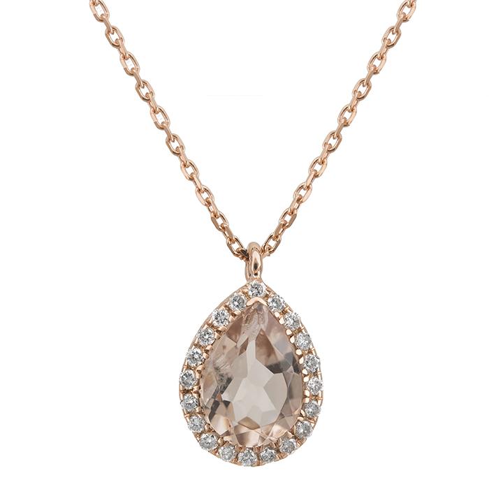 Ροζ gold κολιέ ροζέτα με morganite Κ18 027517 027517 Χρυσός 18 Καράτια