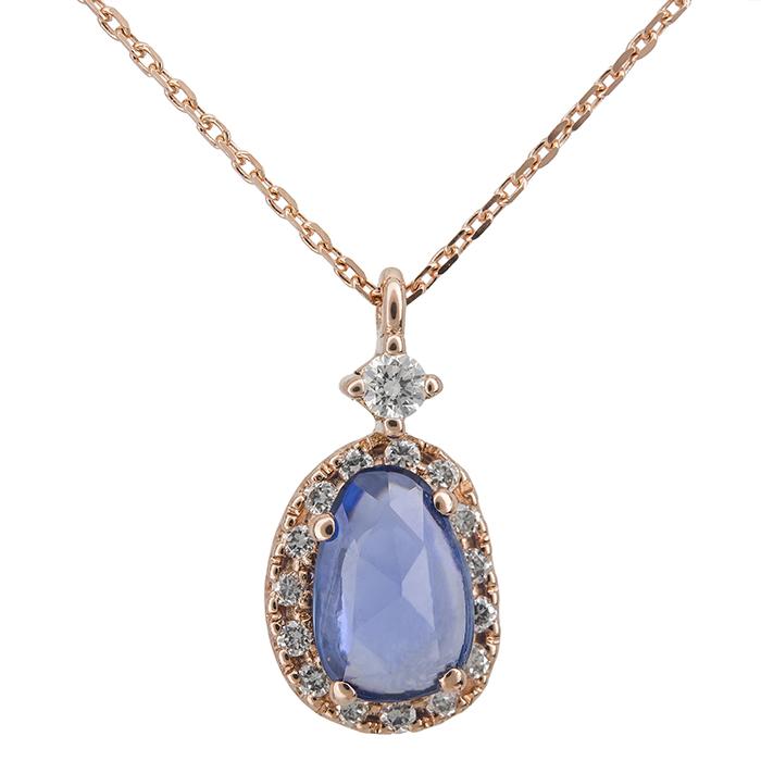 Ροζ gold κολιέ με διαμάντια και ζαφείρι Κ18 027519 027519 Χρυσός 18 Καράτια