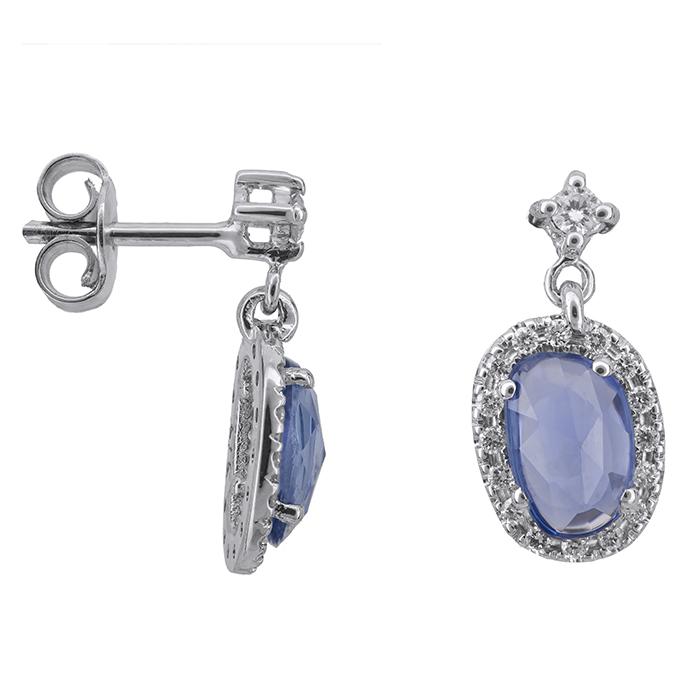Λευκόχρυσα σκουλαρίκια με ζαφείρια και διαμάντια 027521 027521 Χρυσός 18 Καράτια χρυσά κοσμήματα σκουλαρίκια καρφωτά