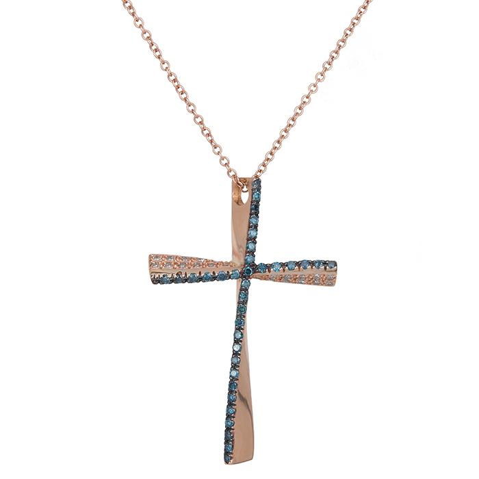 Γυναικείος σταυρός με μπλε και λευκά διαμάντια Κ18 027522 027522 Χρυσός 18 Καράτ χρυσά κοσμήματα σταυροί