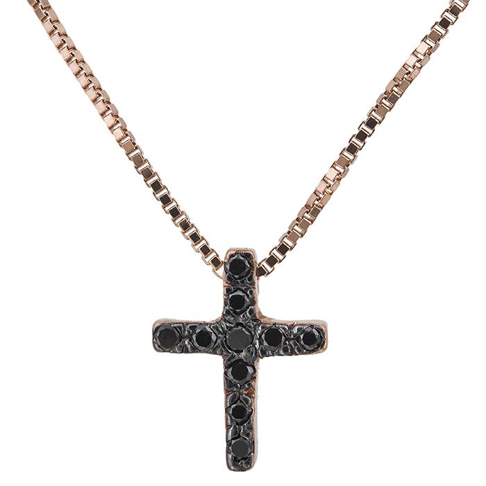 Ροζ gold σταυρός με μαύρα διαμάντια Κ18 027528 027528 Χρυσός 18 Καράτια