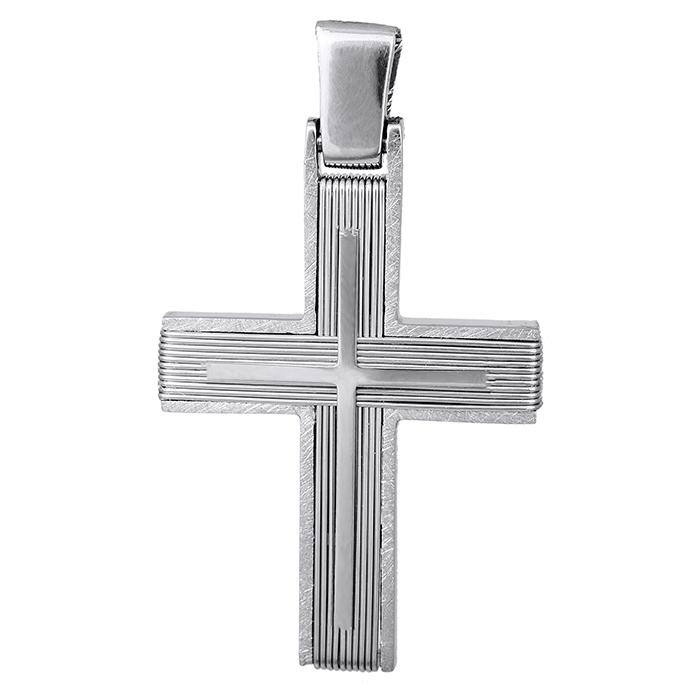 Σταυροί Βάπτισης - Αρραβώνα Λευκόχρυσος σταυρός Κ14 με σύρμα 027531 027531 Ανδρικό Χρυσός 14 Καράτια