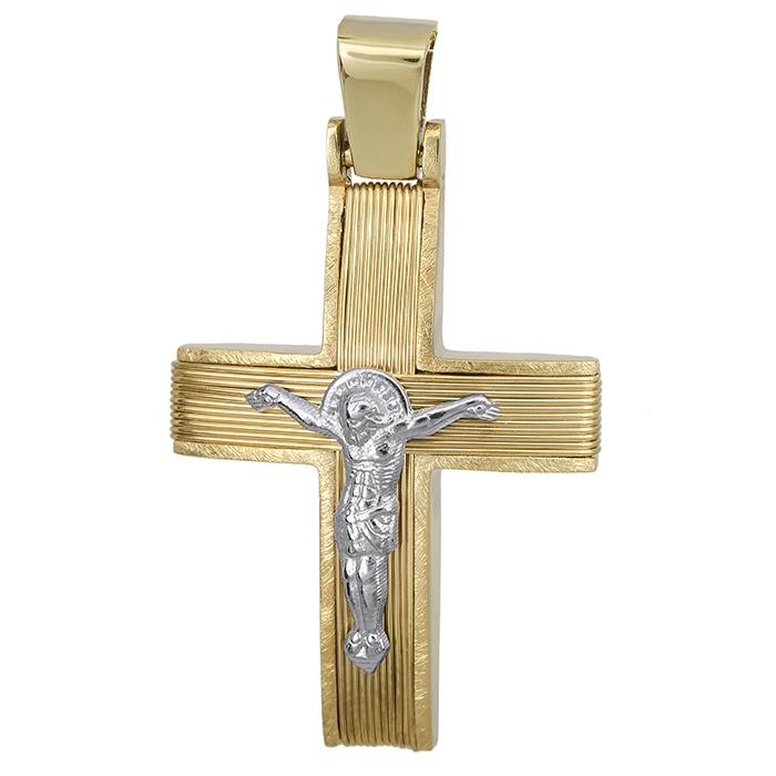 Σταυροί Βάπτισης - Αρραβώνα Αντρικός σταυρός Κ14 με σύρμα & τον Εσταυρωμένο 027532 027532 Ανδρικό Χρυσός 14 Καράτια