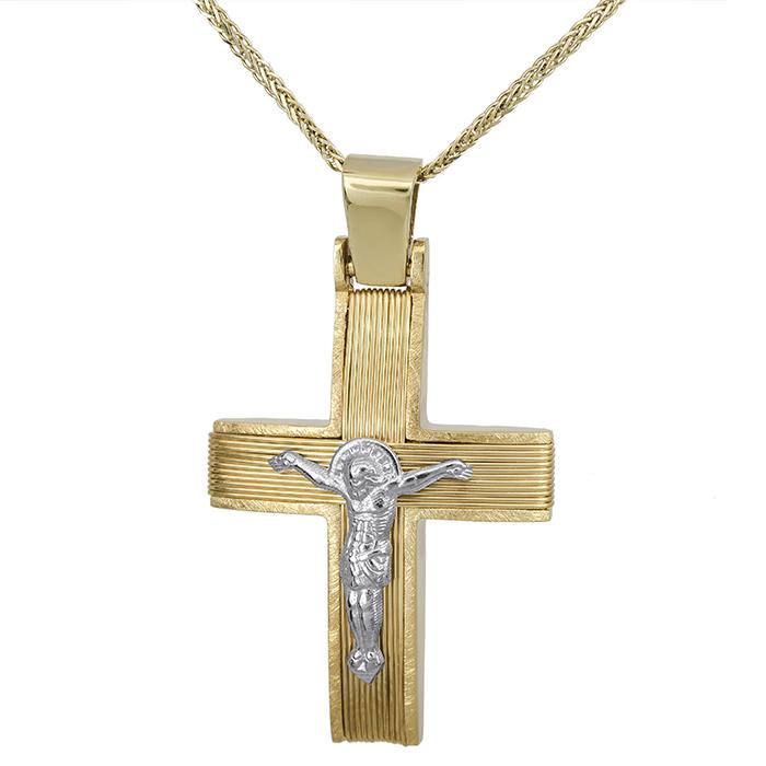 Βαπτιστικοί Σταυροί με Αλυσίδα Βαπτιστικός σταυρός Κ14 με τον Εσταυρωμένο 027532C 027532C Ανδρικό Χρυσός 14 Καράτια