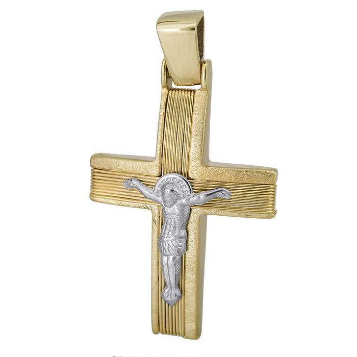 Σταυροί Βάπτισης - Αρραβώνα Αντρικός σταυρός Κ14 με τον Εσταυρωμένο 027533 027533 Ανδρικό Χρυσός 14 Καράτια