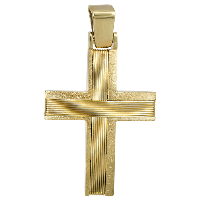 Σταυροί Βάπτισης - Αρραβώνα Συρματερός χρυσός σταυρός Κ14 ανδρικός 027538 027538 Ανδρικό Χρυσός 14 Καράτια