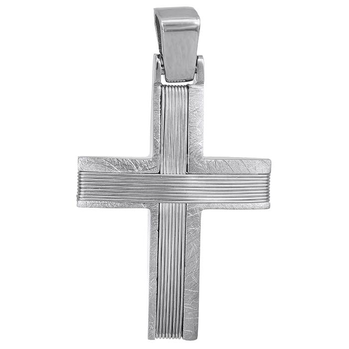 Σταυροί Βάπτισης - Αρραβώνα Λευκόχρυσος σταυρός Κ14 με σύρμα ανδρικός 027539 027539 Ανδρικό Χρυσός 14 Καράτια