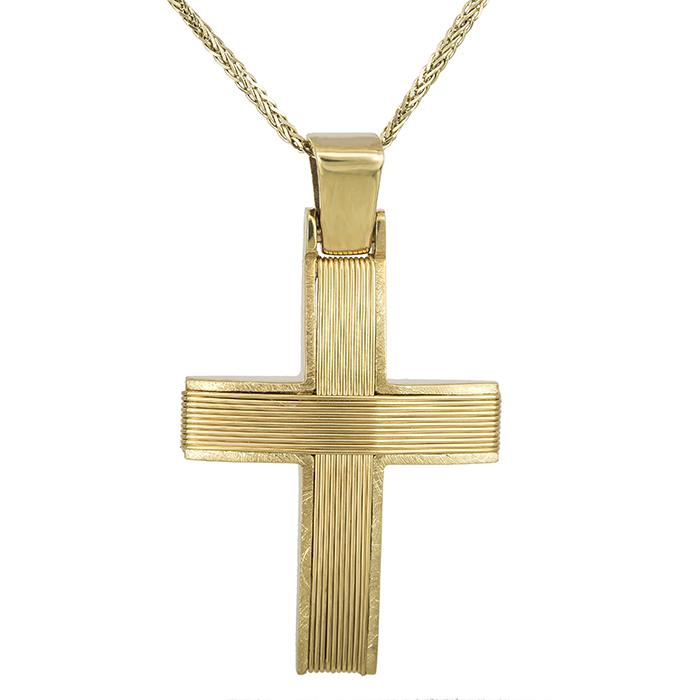 Βαπτιστικοί Σταυροί με Αλυσίδα Σταυρός χρυσός συρματερός Κ14 με χρυσή αλυσίδα 027542C 027542C Ανδρικό Χρυσός 14 Καράτια
