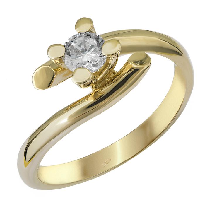 Χρυσό δαχτυλίδι με ζιργκόν Κ14 027563 027563 Χρυσός 14 Καράτια χρυσά κοσμήματα δαχτυλίδια μονόπετρα