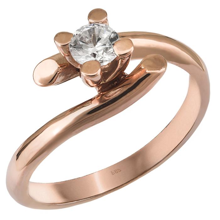 Ροζ gold μονόπετρο με ζιργκόν Κ14 027564 027564 Χρυσός 14 Καράτια χρυσά κοσμήματα δαχτυλίδια μονόπετρα