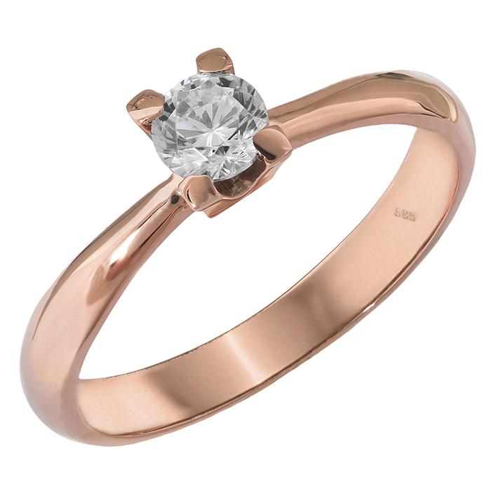Ροζ gold κλασικό μονόπετρο Κ14 027568 027568 Χρυσός 14 Καράτια