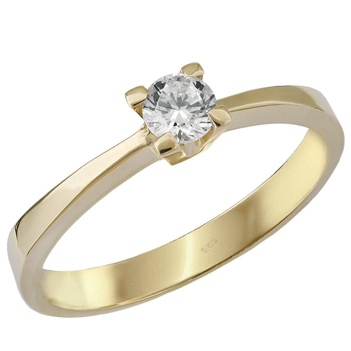 Κλασικό μονόπετρο δαχτυλίδι Κ14 027569 027569 Χρυσός 14 Καράτια
