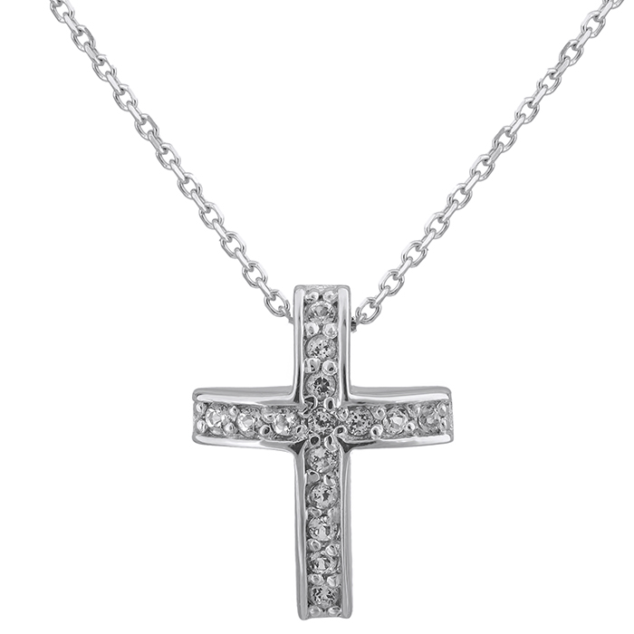Λευκόχρυσο σταυρουδάκι Swarovski Κ14 με τοπάζ πέτρες 027571 027571 Χρυσός 14 Καράτια