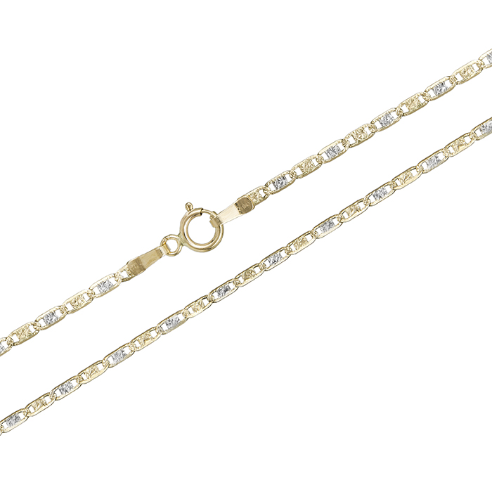 """Δίχρωμη καδένα λαιμού """"Θ"""" Κ14 027587 027587 Χρυσός 14 Καράτια χρυσά κοσμήματα αλυσίδες   καδένες"""