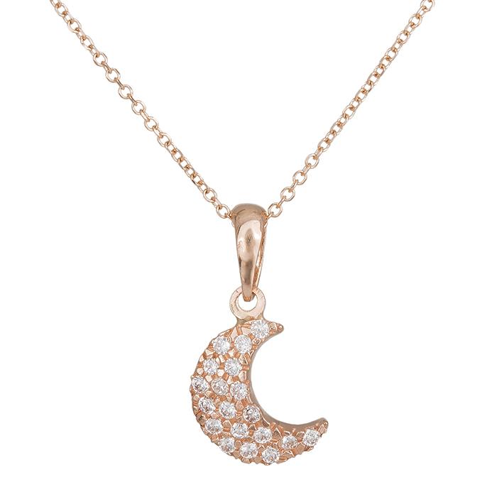 Γυναικείο κολιέ Κ14 ροζ gold με ζιργκόν 027665 027665 Χρυσός 14 Καράτια